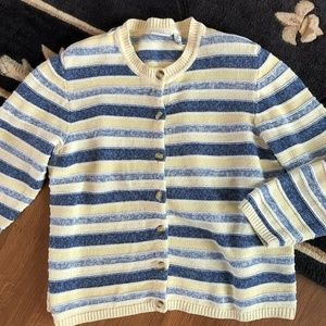 CJ Banks - Yellow Blue Striped Sweater Cardigan 1X